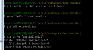 git config --global core.autocrlf false