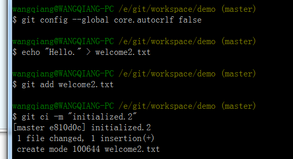 git config --global core.autocrlf false