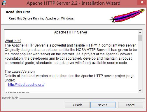 Apache自述说明界面