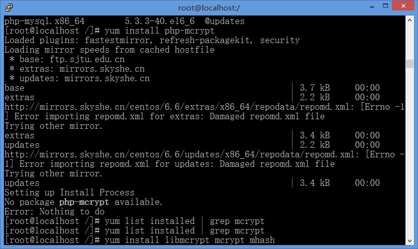 执行yum install php-mcrypt提示:Error: Nothing to do