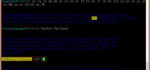 原因在于httpd.conf文件中AddDefaultCharset设置为UTF-8,导致gb2312编码的网页为乱码了!