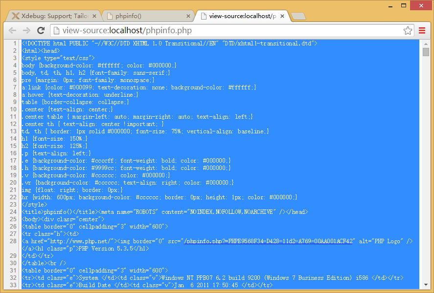 复制phpinfo.php的网页源代码