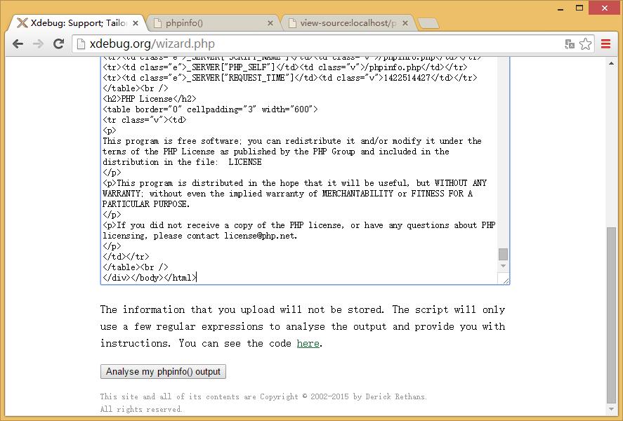 复制phpinfo.php的网页源代码至http://xdebug.org/wizard.php的文本区域中