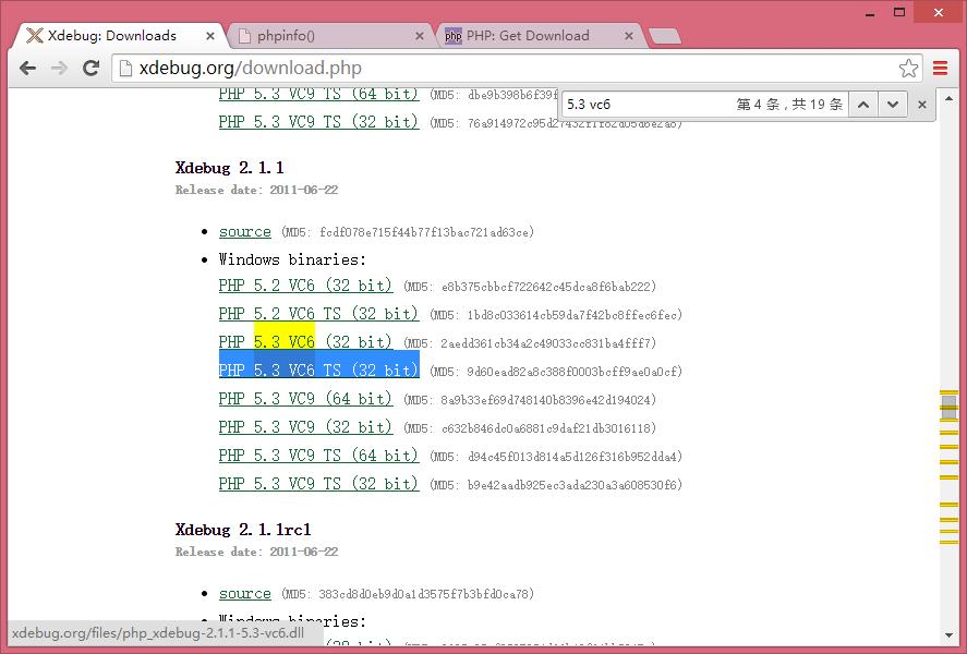 根据环境信息,可以选择PHP 5.3 VC6 (32 bit) 进行下载!