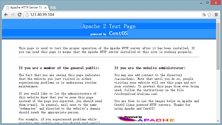 httpd服务安装、启动成功