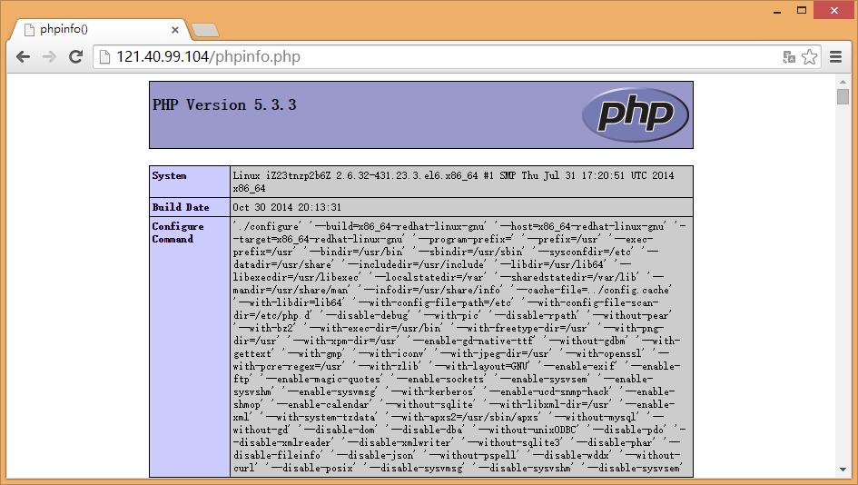 验证php是否安装成功