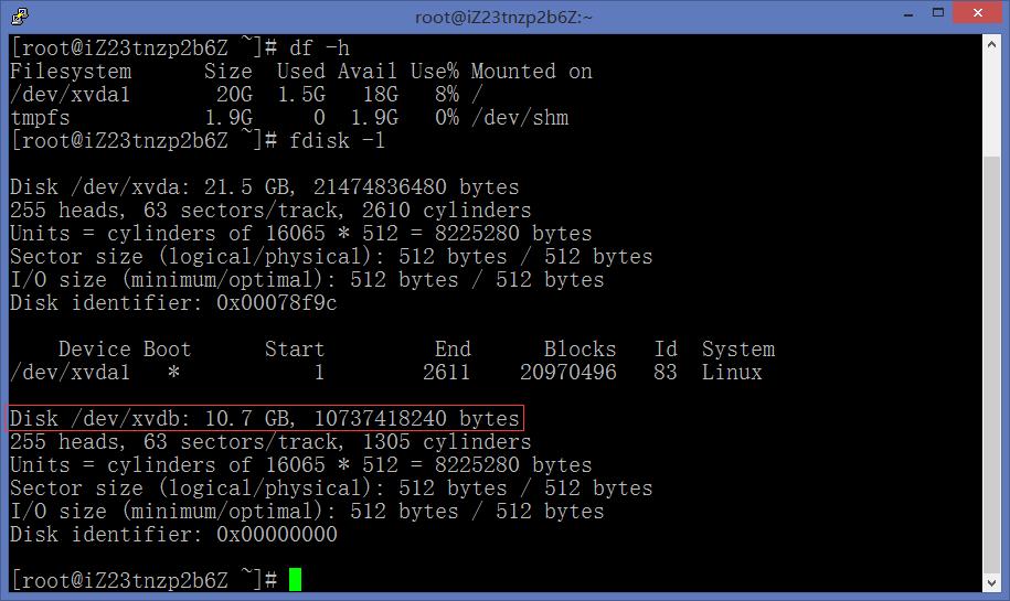 查看磁盘空间使用情况,包括还未被挂载的数据盘