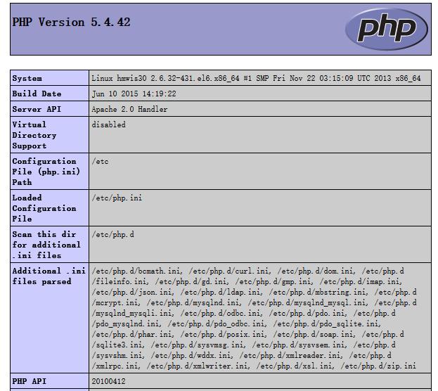 phpinfo信息查看,运行正常