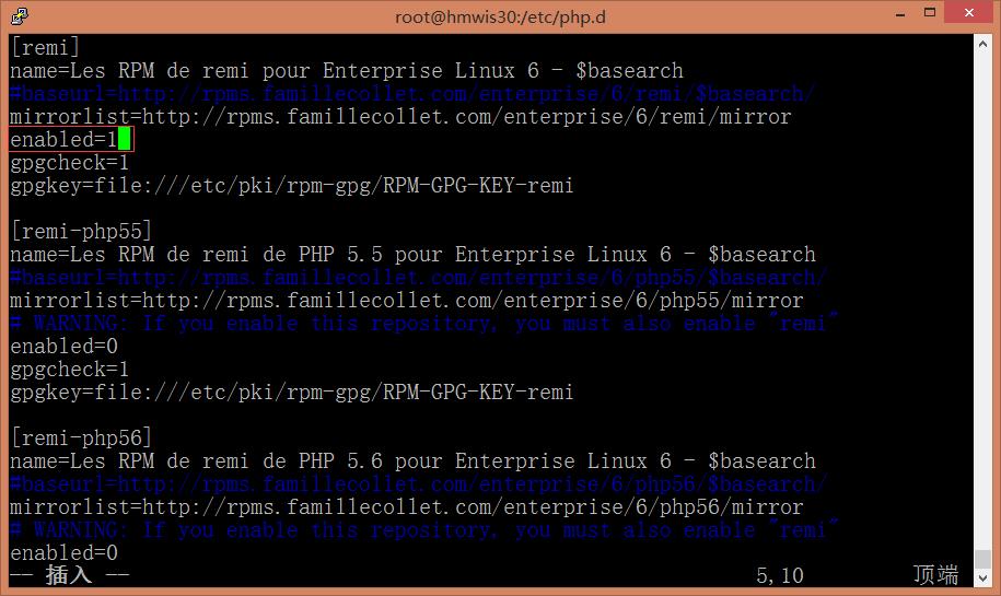编辑/etc/yum.repos.d/remi.repo,设置[remi]下的enabled=1,[remi]表示php 5.4版本,下还有5.5与5.6,此处采用5.4