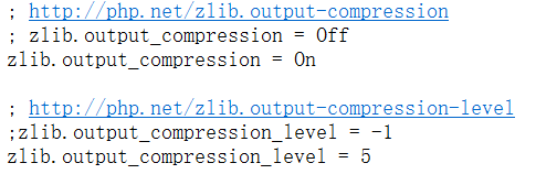 编辑php.ini中zlib.output_compression = On、zlib.output_compression_level = 5
