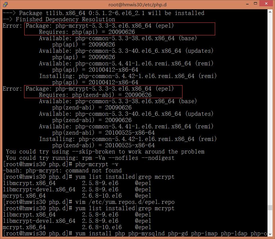 执行命令失败,因为php-mcrypt仍然是基于epel源安装,而其最新版本为5.3.3,需要让其基于remi源安装5.4版本才是