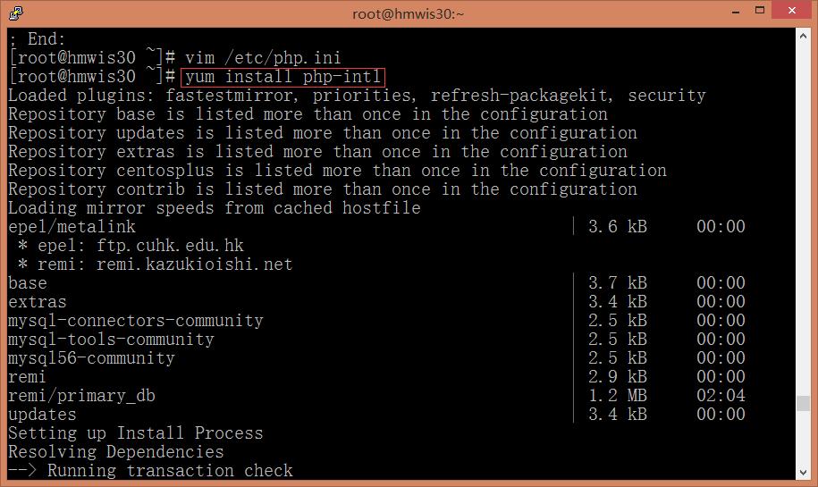 在CentOS上运行命令:yum install php-intl,以安装intl扩展