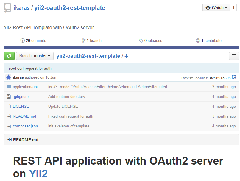REST API application with OAuth2 server on Yii2的地址