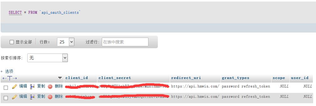 编辑oauth_clients表,设置客户端授权