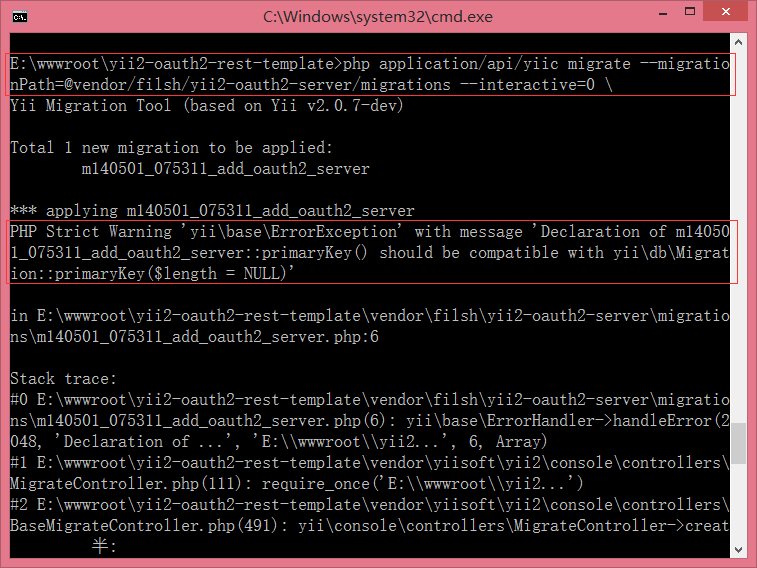 PHP Strict Warning 'yii\base\ErrorException' with message 'Declaration of m14050 1_075311_add_oauth2_server::primaryKey() should be compatible with yii\db\Migrat ion::primaryKey($length = NULL)'