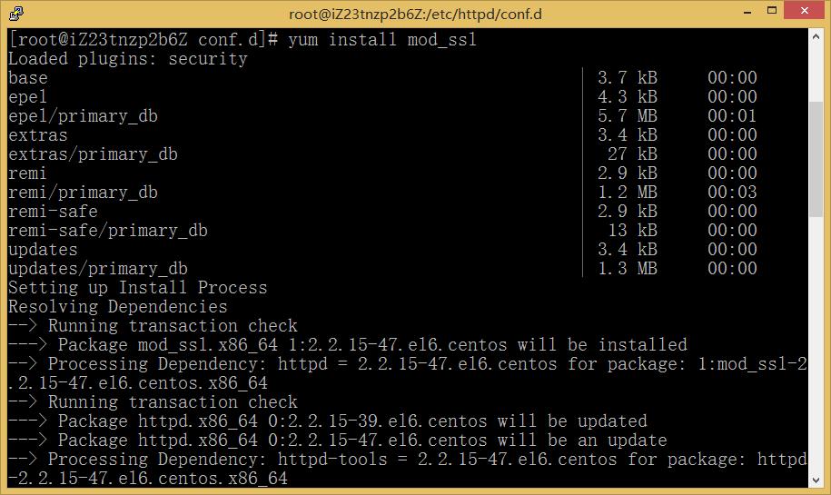 图3:运行:yum install mod_sll