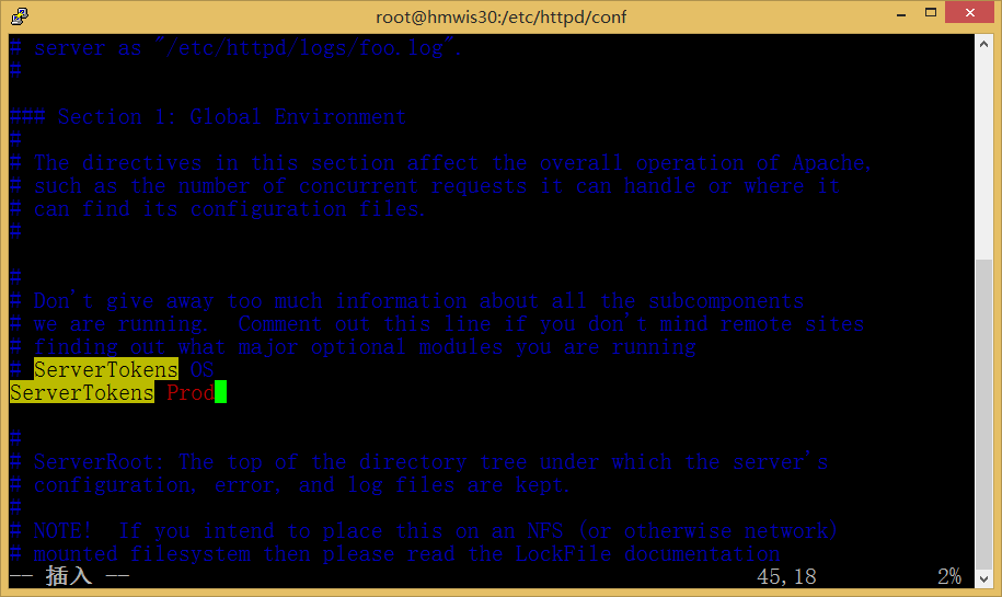 ServerTokens OS 修改为: # ServerTokens OS ServerTokens Prod
