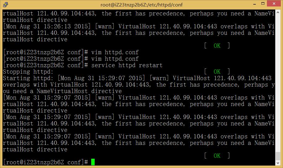 图9.1:using 10.171.221.184 for ServerName 错误消失
