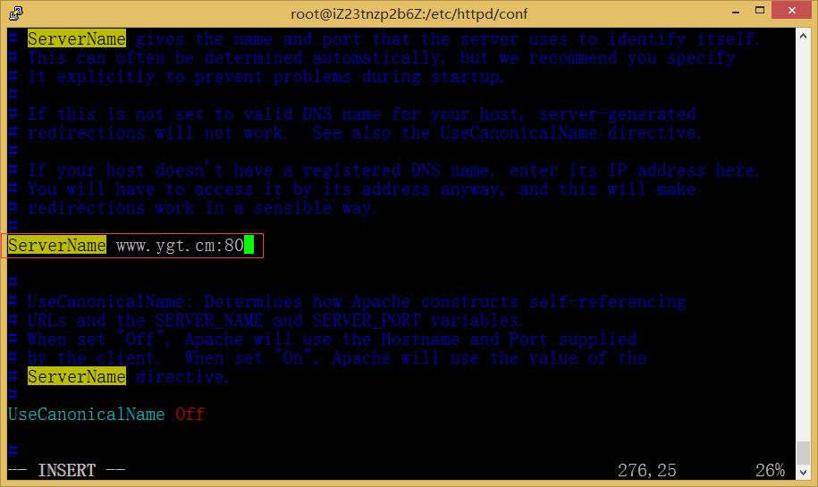 图9:查找#ServerName www.example.com:80 修改为:ServerName www.ygt.cm:80