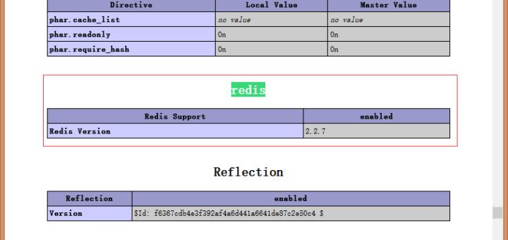 在phpinfo中查看是否存在redis
