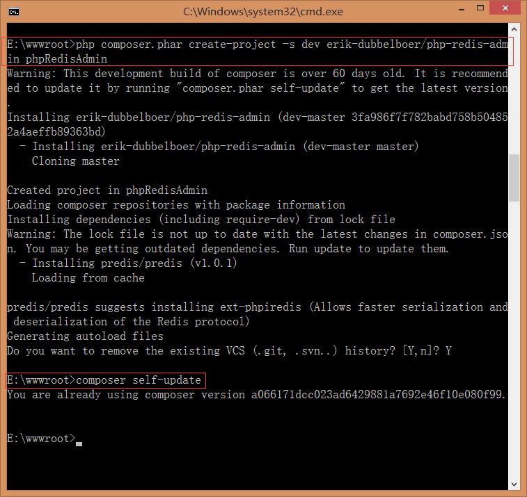 重新执行:php composer.phar create-project -s dev erik-dubbelboer/php-redis-admin phpRedisAdmin,如图19