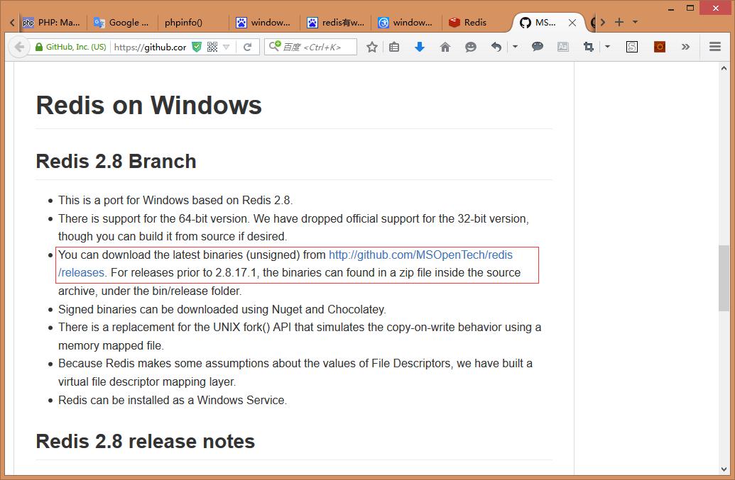 根据提示,可以在 http://github.com/MSOpenTech/redis/releases 下载到最新的二进制文件