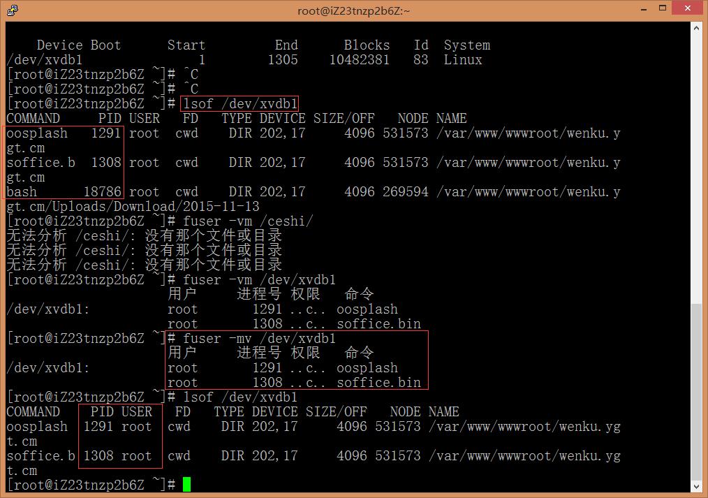 这个是有程序正在使用此磁盘,可以用 lsof /dev/xvdb1 或者可以用 fuser -mv /dev/xvdb1 看下是哪个进程在占用