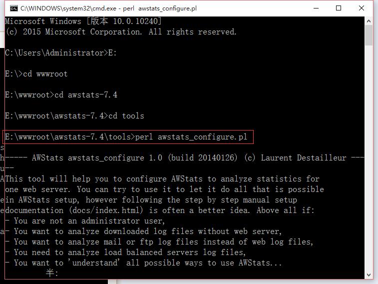 运行:E:\wwwroot\awstats-7.4\tools>perl awstats_configure.pl