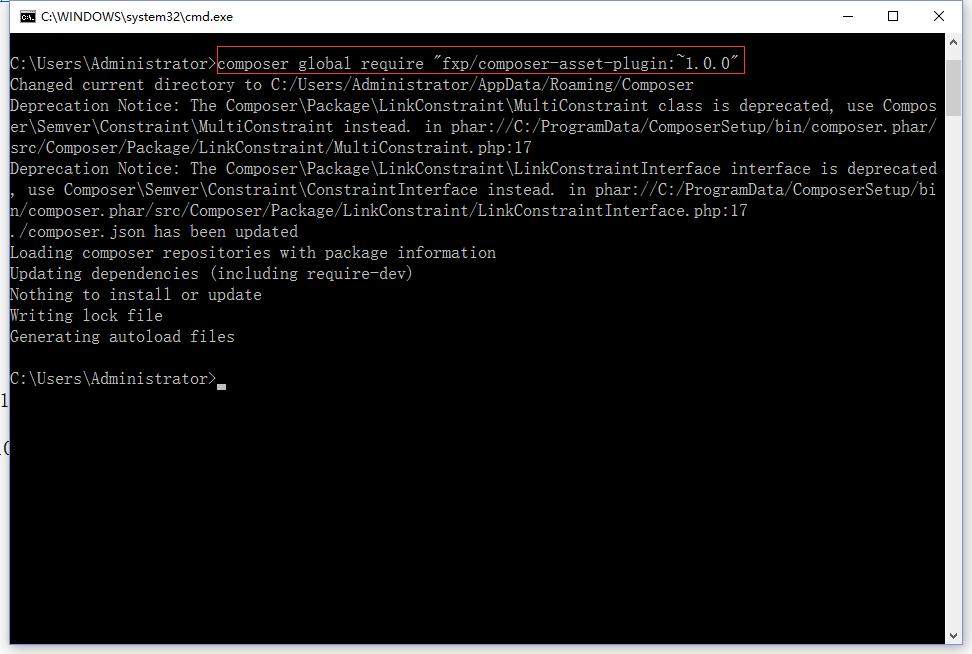 为Composer安装composer asset插件,执行命令
