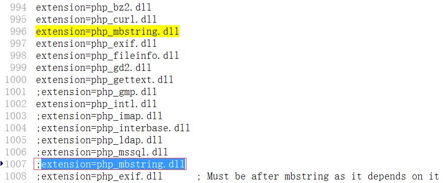 在php.ini中,发现extension=php_mbstring.dll加载了2次,将1007行注释掉