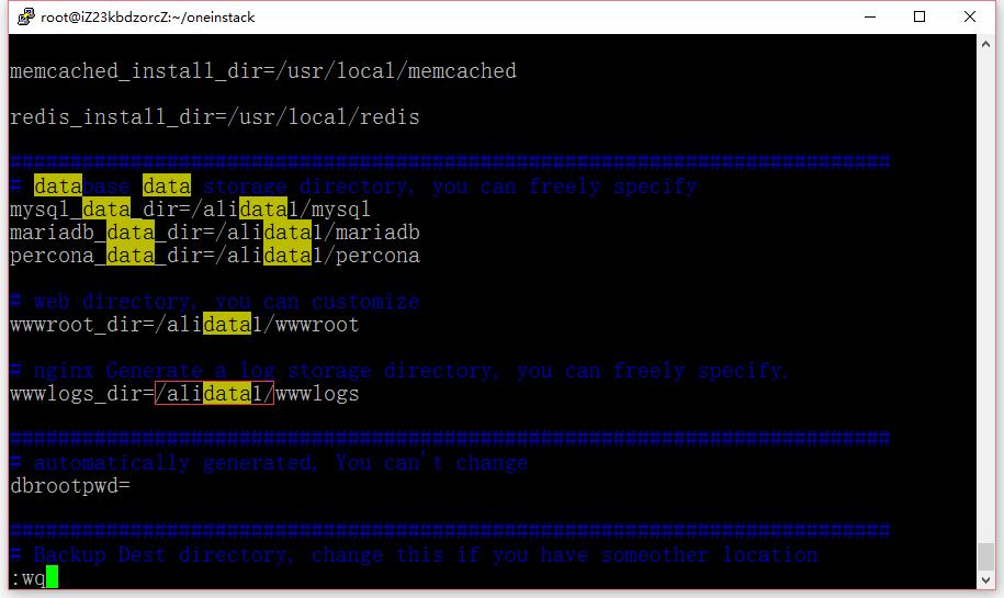 修改options.conf文件,将 /data/ 全部替换为 /alidata1/