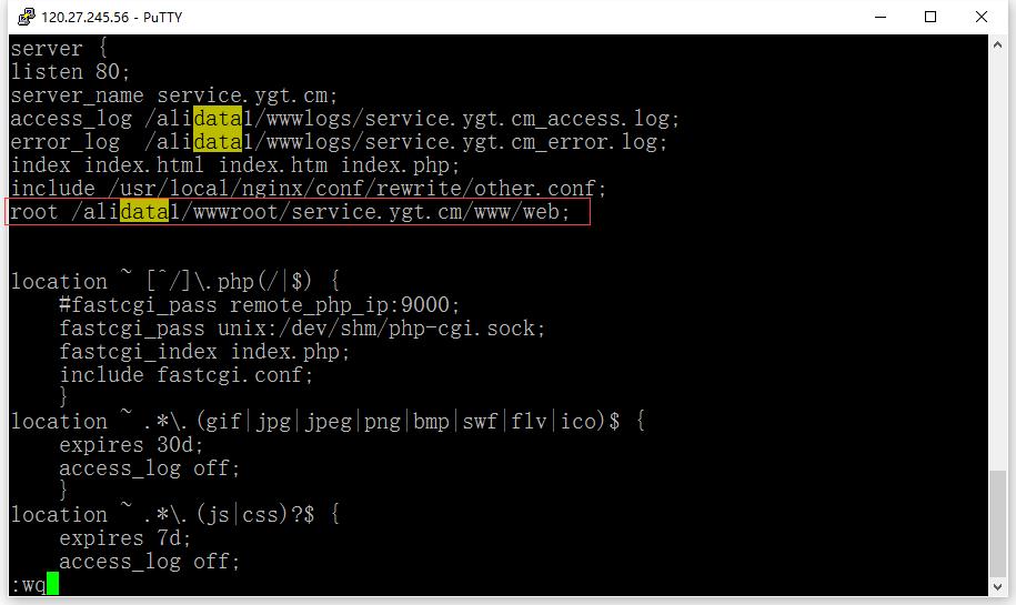 编辑/usr/local/nginx/conf/vhost/service.ygt.cm.conf文件