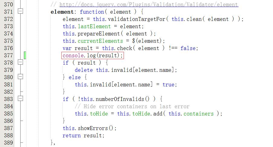 在element方法中,插入console.log(result);