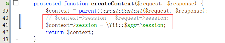 // $context->session = $request->session; $context->session = \Yii::$app->session;