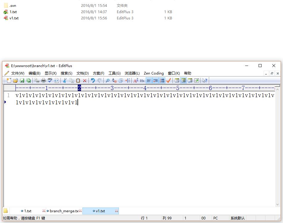进入目录branch(工作副本),新建文件v1.txt