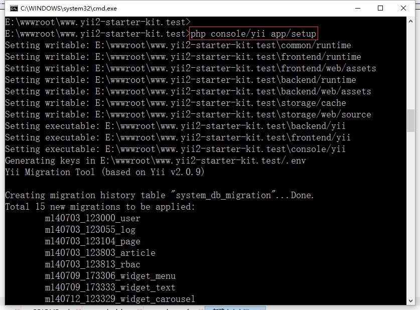安装yii2-starter-kit,在命令行中运行:php console/yii app/setup