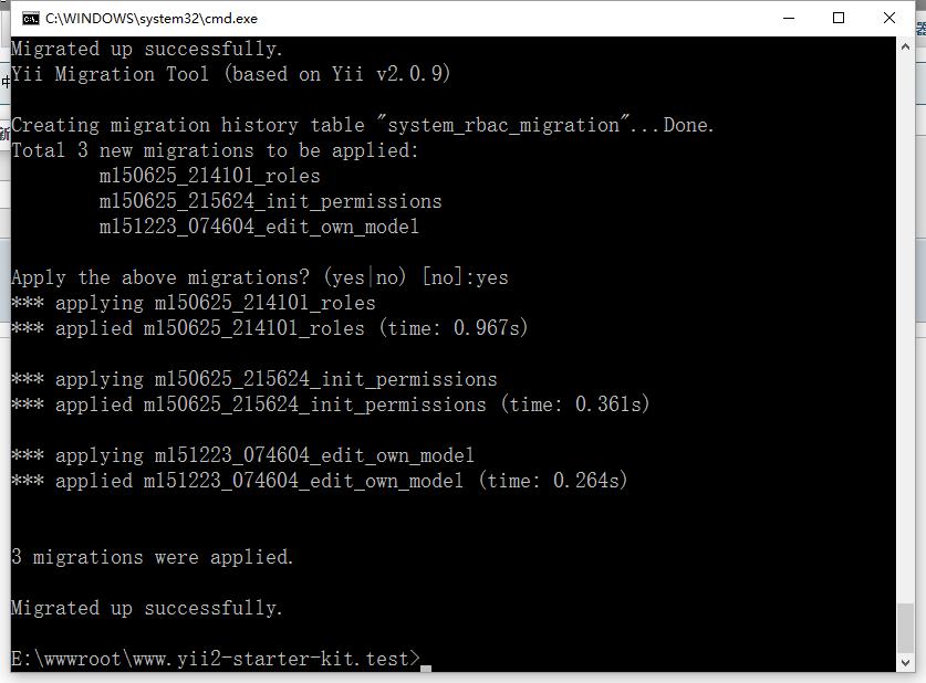 清除数据库,在命令行中再次运行:php console/yii app/setup,提示已成功迁移