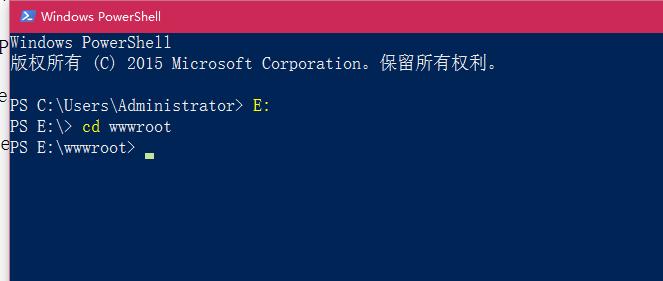 在 Windows PowerShll 中,进入wwwroot目录