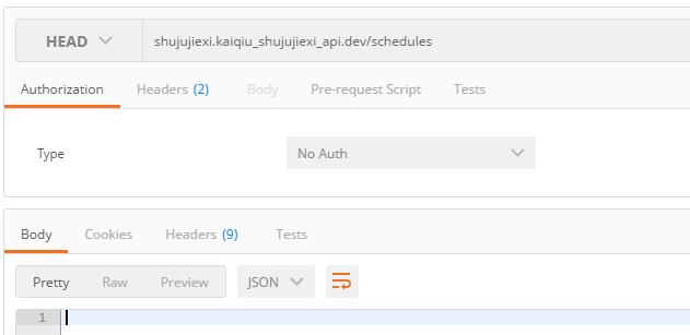 基于URL规则:'GET,HEAD users' => 'user/index',,在Postman中HEAD:shujujiexi.kaiqiu_shujujiexi_api.dev/schedules,空响应,可以不用理会,其他请求皆为404