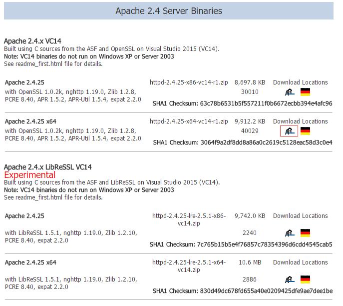 选择ApacheHaus,下载,2.4版本的x64的二进制文件