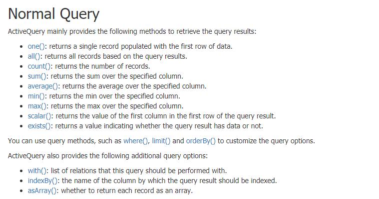 总结:Yii 2 的 ActiveRecord,相关方法对于Redis的CPU计算压力排行:insert() < one()/exists() < count()/all(),当某个Redis模型的key的数量超出10000后,如果要执行查询(有where条件)操作,建议不要使用ActiveRecord