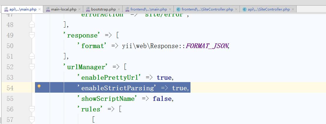 当请求被解析为空路由时,将使用所谓的默认路由。为何没有路由至 'site/index',原因在于配置文件中启用了严格请求解析