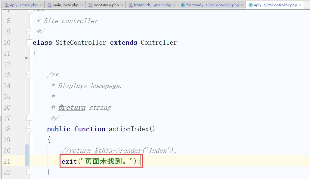 'site/index' 中的代码