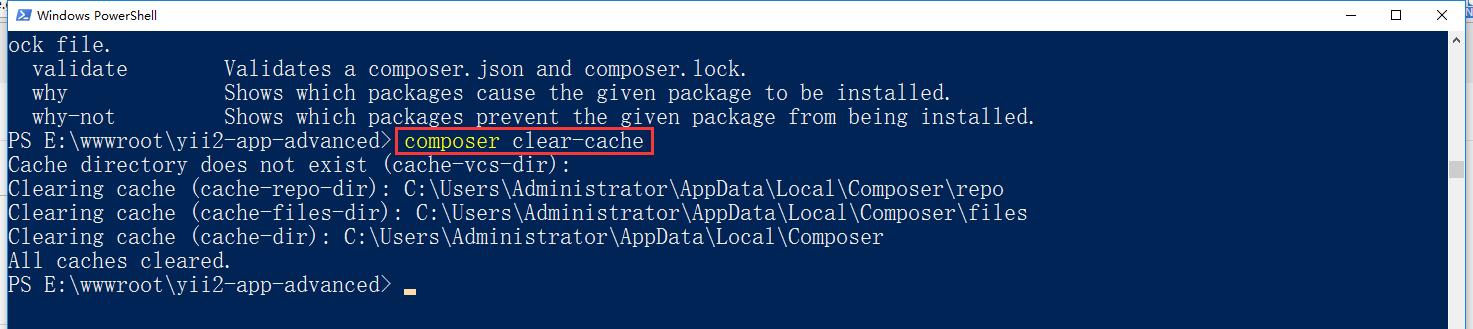 查看 Composer 的安装提示,bower-asset 目录下的文件从缓存加载,决定清空 Composer 缓存