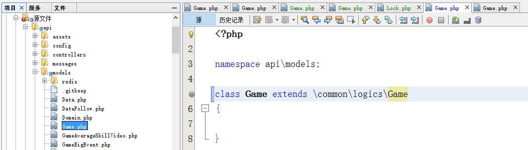 在api/models目录中的MySQL模型文件为业务逻辑相关,继承至 \common\logics\Game 逻辑层