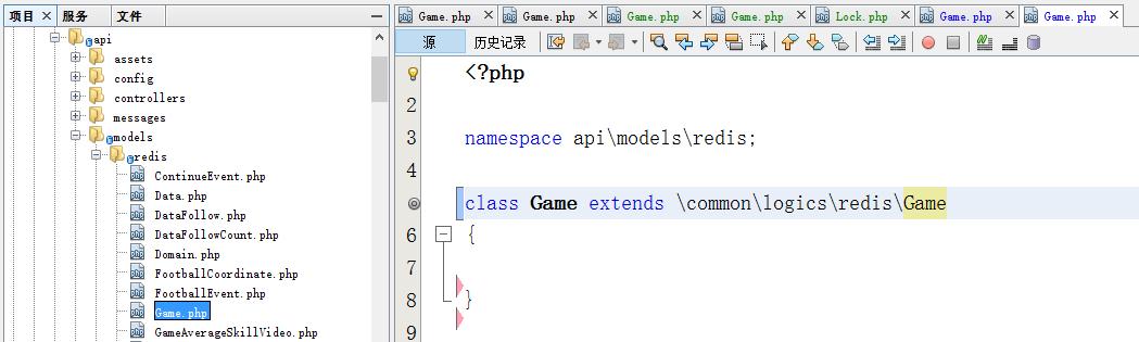 在api/models/redis目录中的Redis(ActiveRecord/原生命令)模型文件为业务逻辑相关,继承至 \common\logics\redis\Game 逻辑层