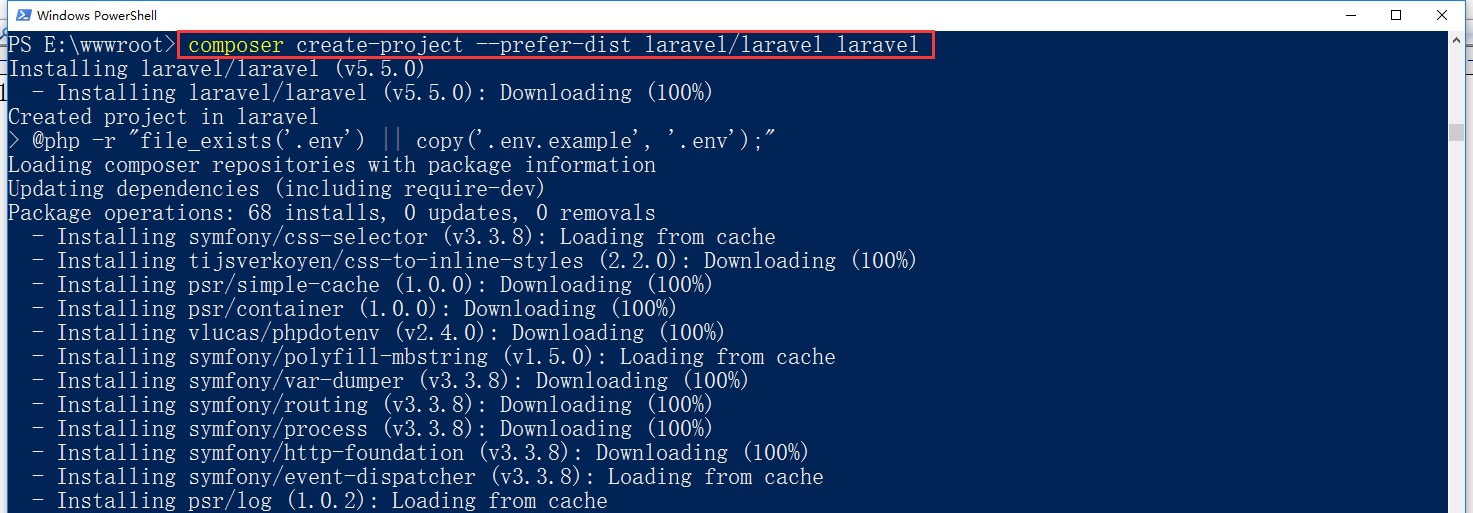 1、通过 Composer 在命令行运行 create-project 命令来安装 Laravel,运行命令:composer create-project --prefer-dist laravel/laravel laravel