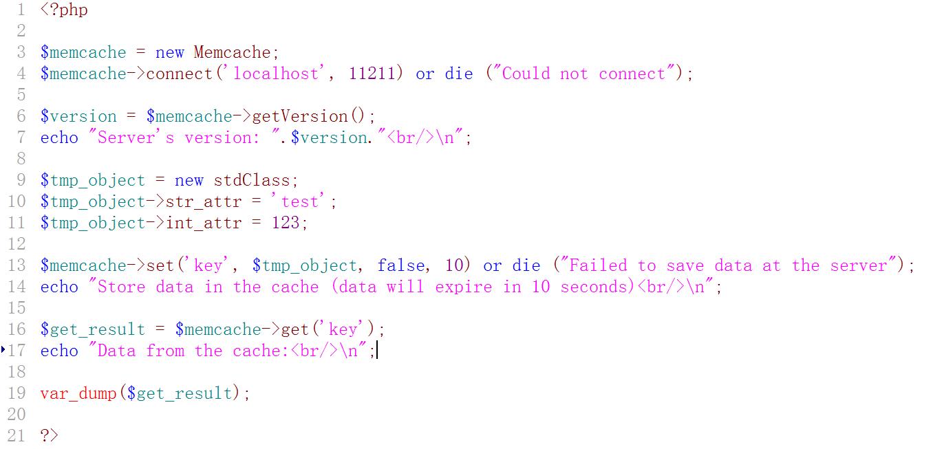 新建测试程序:memcached.php