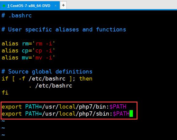 将PHP的可执行目录添加到环境变量中,使用 Vim 打开 ~/.bashrc,在末尾添加如下内容