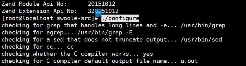 使用 ./configure 来做编译配置检测,swoole的./configure有很多额外参数,可以通过 ./configure --help 命令查看,这里均选择默认项